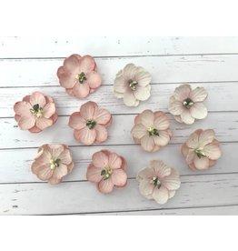 10 Blüten aus Maulbeerpapier Rosa