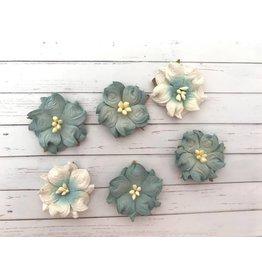 6 Blüten aus Maulbeerpapier Blau