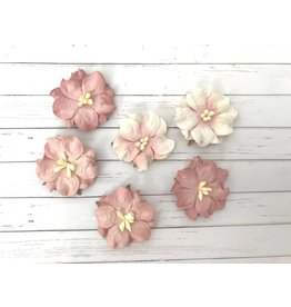 6 Blüten aus Maulbeerpapier Rosa