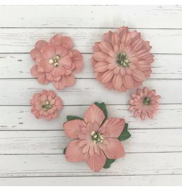 5 Blüten aus Maulbeerpapier Rosa