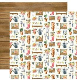Carta Bella Market Planters - Spring Market  12x12 Cardstock