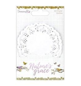 40x Spitzendeckchen aus Papier Weiß 9cm