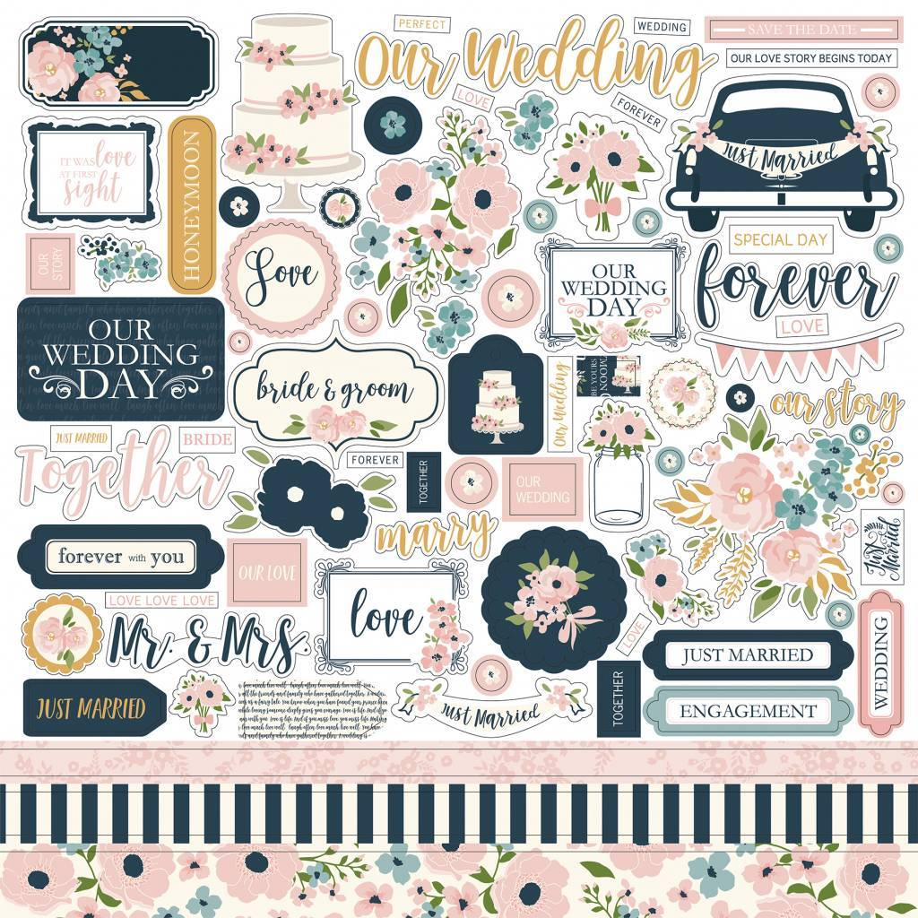 Echo Park Just Married 12x12 Element Stickers