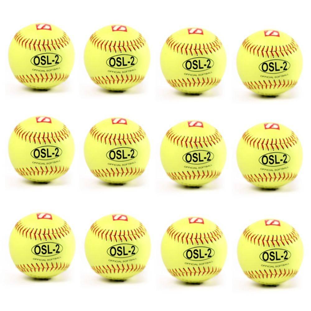 OSL-2 balle de compétition softball, 12'', jaune 1 douzaine