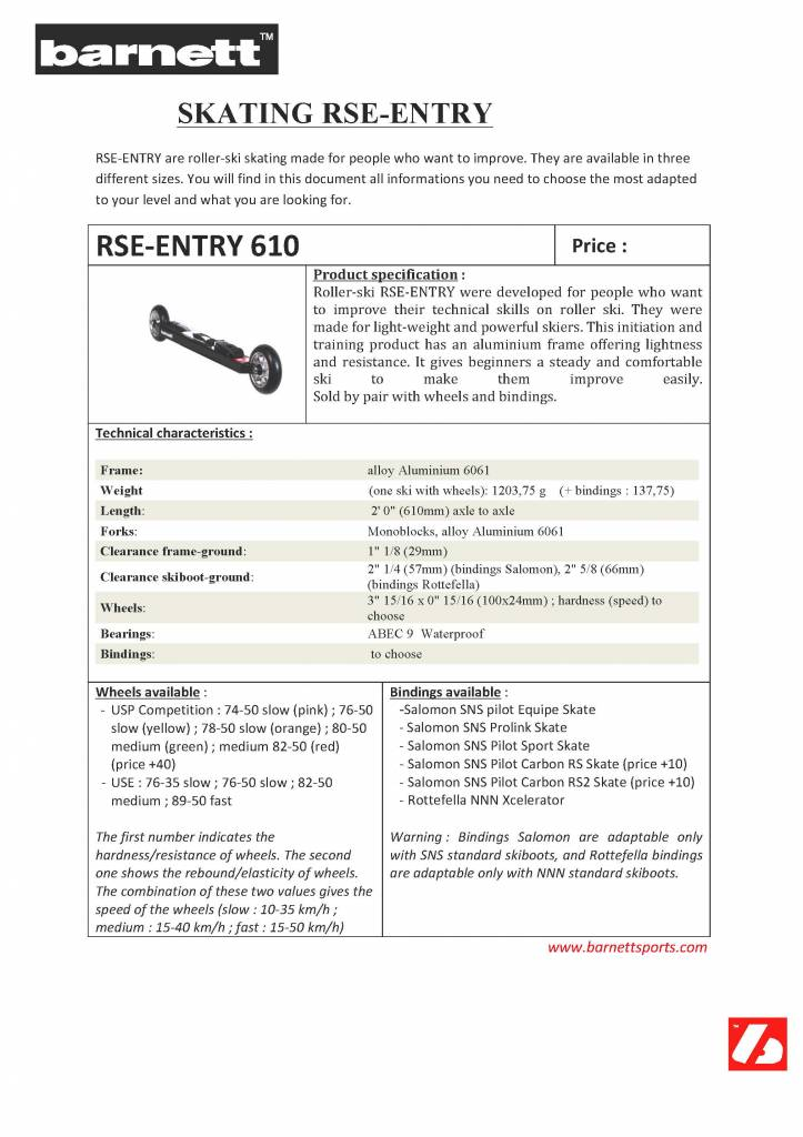 barnett RSE-ENTRY 610 Ski roues Initiation GRIS