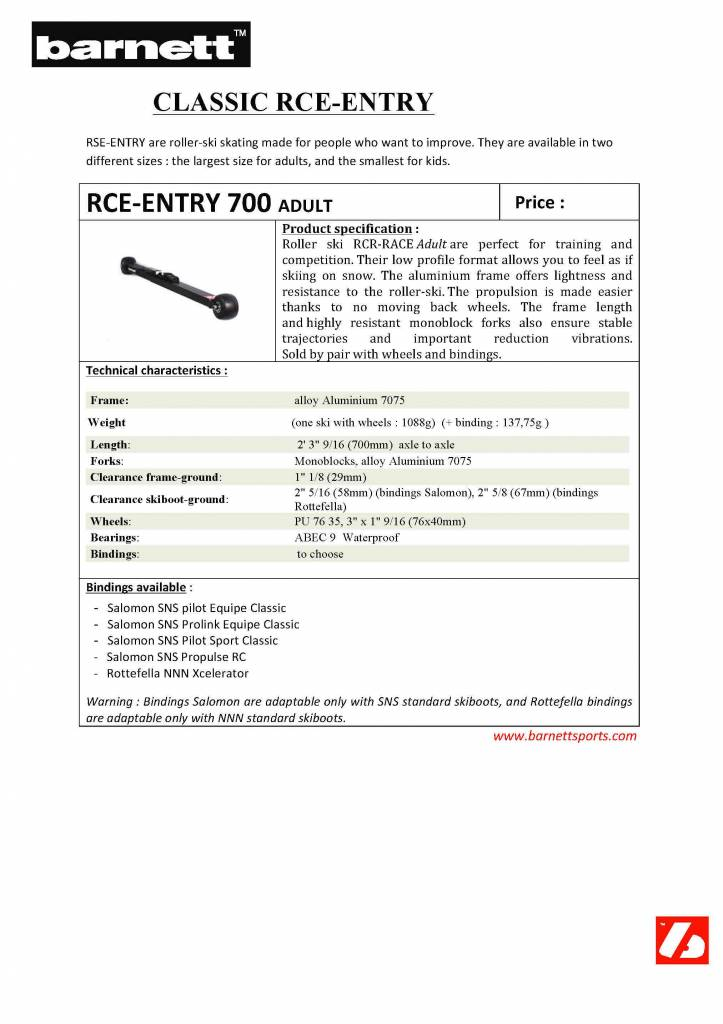 RCE-ENTRY 700 Ski roues Adulte Initiation