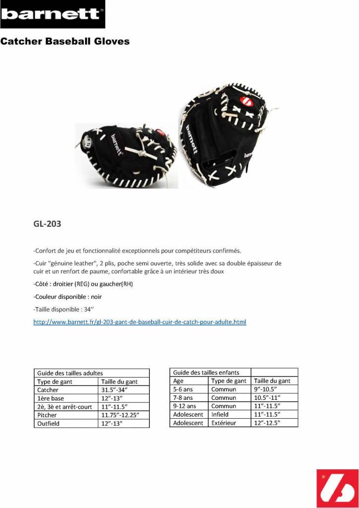 """GL-203 gant de baseball cuir de catch pour adulte 34"""", noir"""
