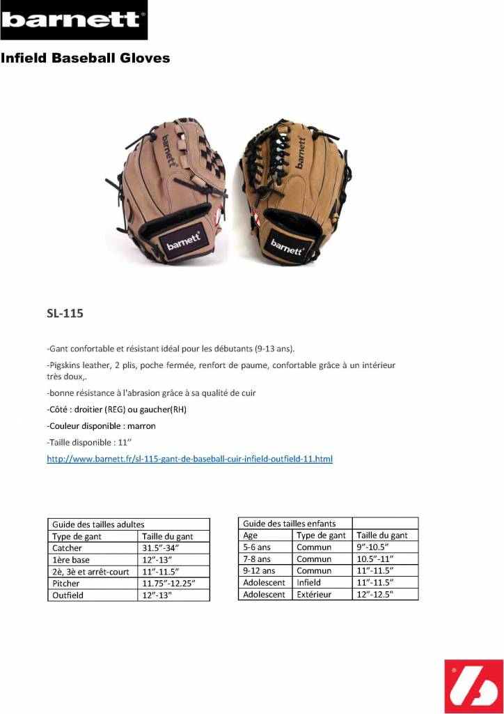 "SL-115 gant de baseball cuir infield/outfield 11"", marron"