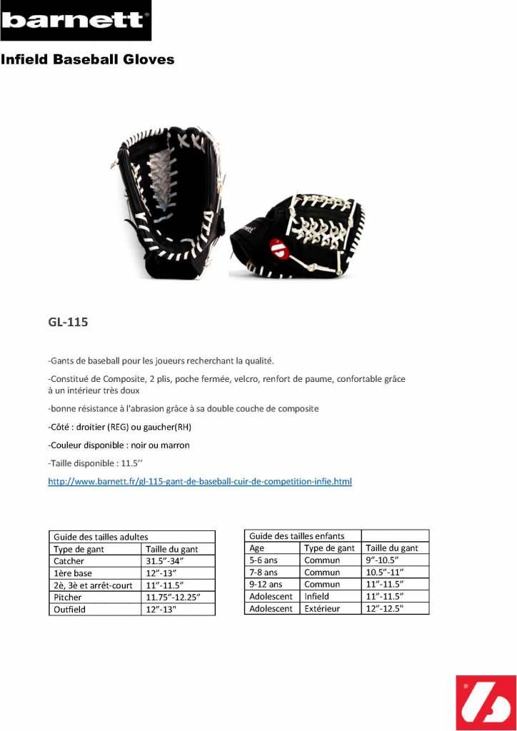 """GL-115 gant de baseball cuir de compétition infield 11.5"""", Noir"""