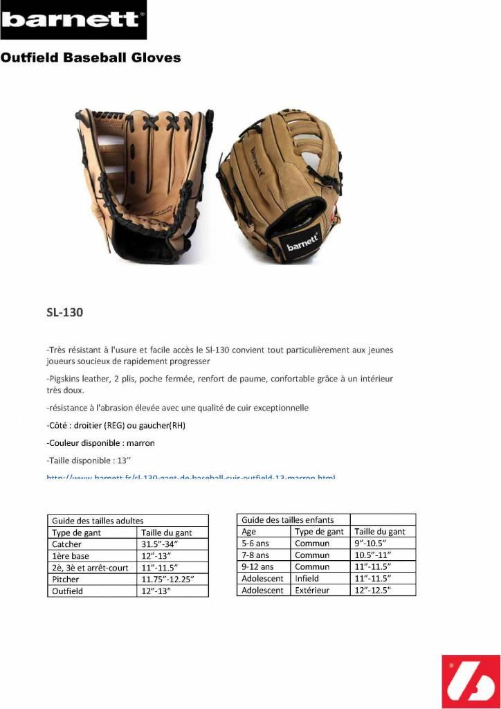 "SL-130 gant de baseball cuir outfield 13"", marron"