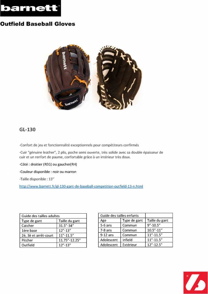 "barnett GL-130 gant de baseball, compétition, outfield 13"", noir"