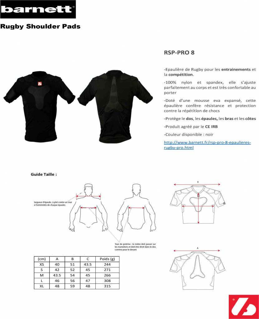 RSP-PRO 8 épaulieres rugby pro