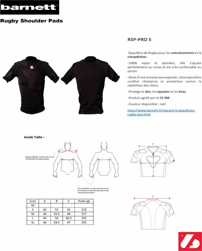RSP-PRO 5 épaulieres rugby pro
