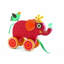 Djeco Djeco houten trek-olifant 'Indy'