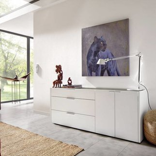 h lsta nuria highboard in lack reinweiss mit vitrine. Black Bedroom Furniture Sets. Home Design Ideas