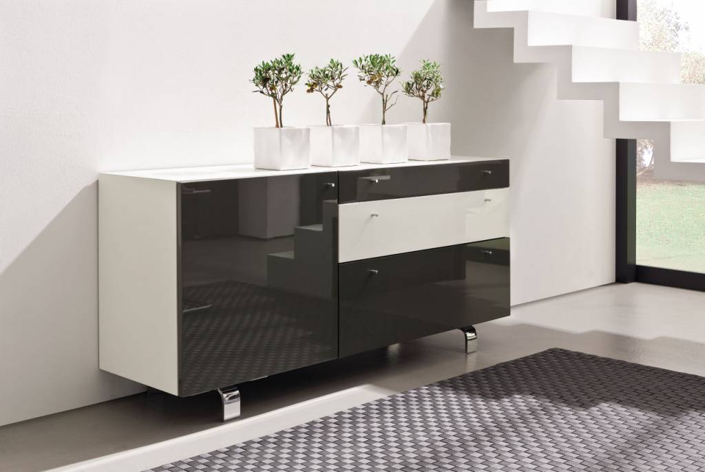 h lsta neo sideboard in hochglanz weiss und grau. Black Bedroom Furniture Sets. Home Design Ideas