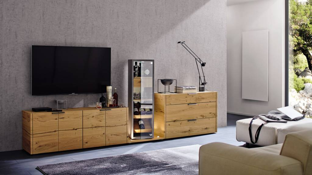 h lsta fena wohnwand in balkeneiche und betonoptik. Black Bedroom Furniture Sets. Home Design Ideas