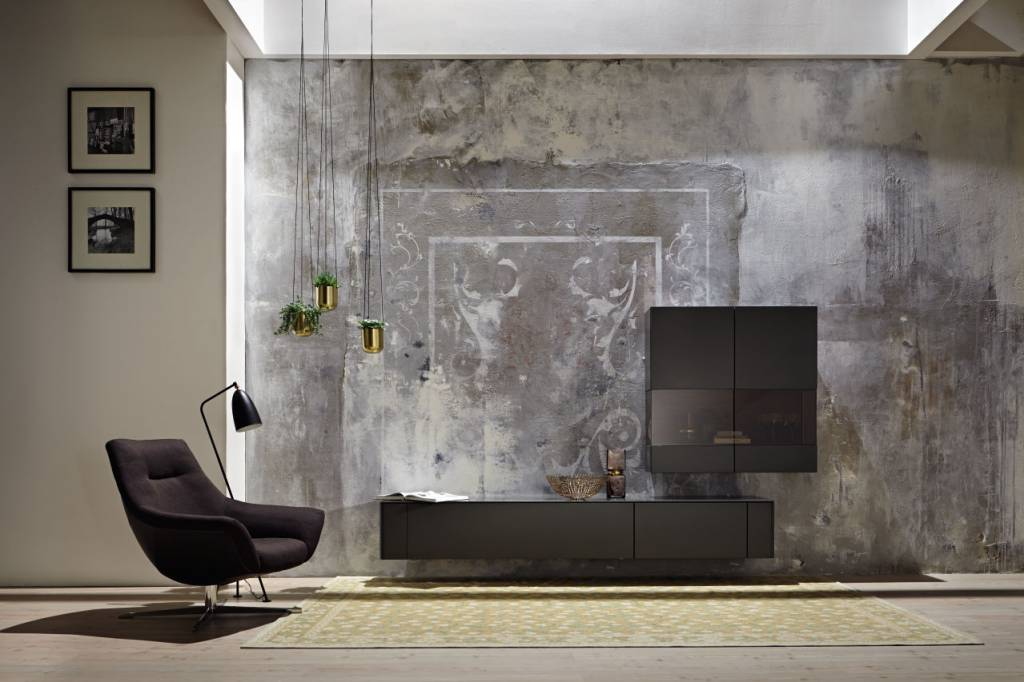 h lsta gentis wohnkombination mit sideboard h ngevitrine. Black Bedroom Furniture Sets. Home Design Ideas