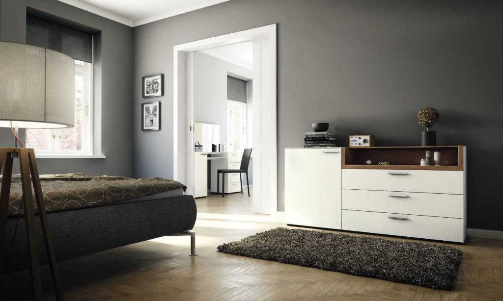 h lsta multi varis kommode in lack weiss und kernnussbaum mit nische. Black Bedroom Furniture Sets. Home Design Ideas