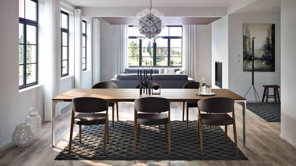 h lsta tisch t70 in kernnussbaum mit f ssen in alu poliert. Black Bedroom Furniture Sets. Home Design Ideas