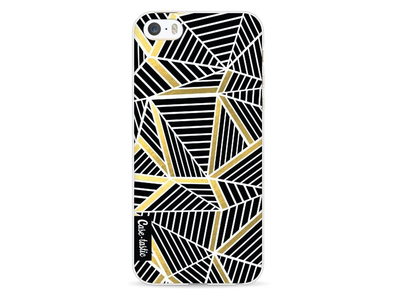 Casetastic Softcover Apple iPhone 5 / 5s / SE - Abstraction Lines Black Gold
