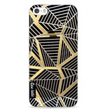Casetastic Softcover Apple iPhone 5 / 5s / SE - Abstraction Lines Black Gold Transparent
