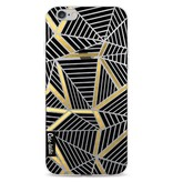 Casetastic Softcover Apple iPhone 6 / 6s  - Abstraction Lines Black Gold Transparent