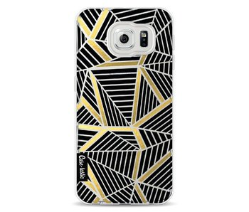Abstraction Lines Black Gold Transparent - Samsung Galaxy S6