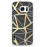 Casetastic Softcover Samsung Galaxy S7 - Abstraction Lines Black Gold Transparent