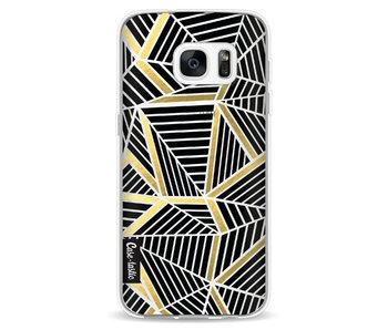 Abstraction Lines Black Gold Transparent - Samsung Galaxy S7