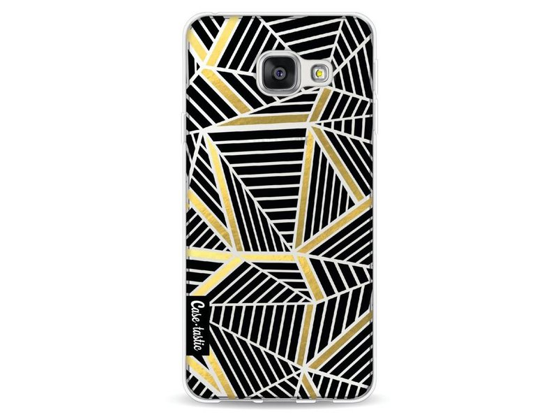 Casetastic Softcover Samsung Galaxy A3 (2016) - Abstraction Lines Black Gold Transparent