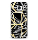 Casetastic Softcover Samsung Galaxy S7 Edge - Abstraction Lines Black Gold Transparent