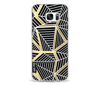 Abstraction Lines Black Gold Transparent - Samsung Galaxy S7 Edge