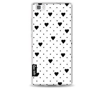 Pin Point Hearts White - Huawei P8 Lite