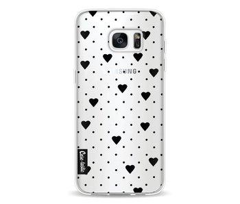 Pin Point Hearts Black Transparent - Samsung Galaxy S7 Edge