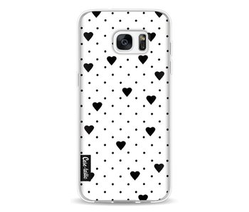 Pin Point Hearts White - Samsung Galaxy S7 Edge
