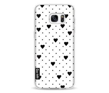 Pin Point Hearts White - Samsung Galaxy S7 Edge