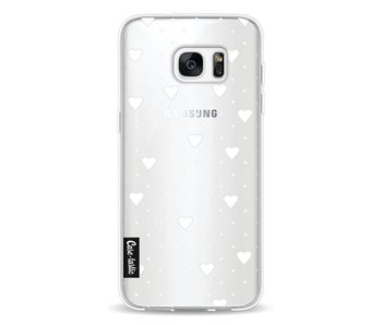 Pin Point Hearts White Transparent - Samsung Galaxy S7 Edge