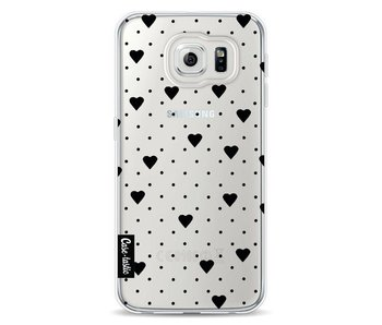 Pin Point Hearts Black Transparent - Samsung Galaxy S6