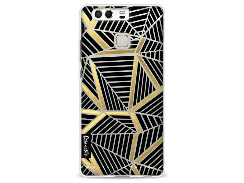 Casetastic Softcover Huawei P9 - Abstraction Lines Black Gold Transparent