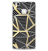 Casetastic Softcover Huawei P9 Lite - Abstraction Lines Black Gold Transparent
