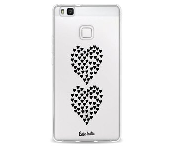 Hearts Heart 2 Black Transparent - Huawei P9 Lite