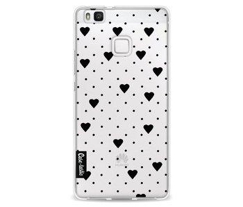 Pin Point Hearts Black Transparent - Huawei P9 Lite