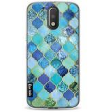 Casetastic Softcover Motorola Moto G4 / G4 Plus - Aqua Moroccan Tiles