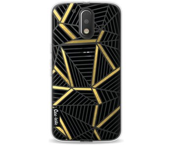 Abstraction Lines Black Gold Transparent - Motorola Moto G4 / G4 Plus