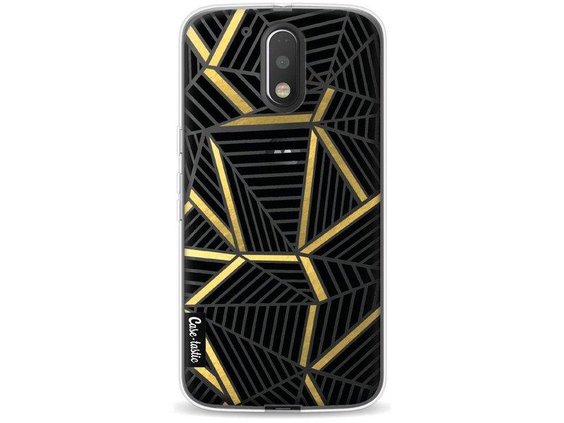 Casetastic Softcover Motorola Moto G4 / G4 Plus - Abstraction Lines Black Gold Transparent
