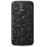 Casetastic Softcover Motorola Moto G4 / G4 Plus - Abstraction Lines Black Transparent