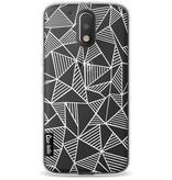 Casetastic Softcover Motorola Moto G4 / G4 Plus - Abstraction Lines White Transparent