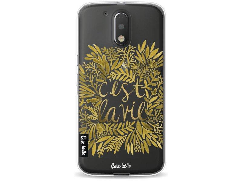 Casetastic Softcover Motorola Moto G4 / G4 Plus - Cest La Vie Gold
