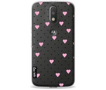 Pin Point Hearts Pink Transparent - Motorola Moto G4 / G4 Plus